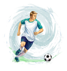 Soccer player ball vector