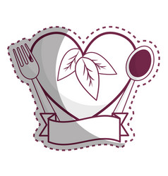 Sticker heart with spoon fork and ribbon vector