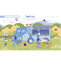 street food truck service flat landing page design vector image