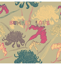 summer flowers seamless background vector image