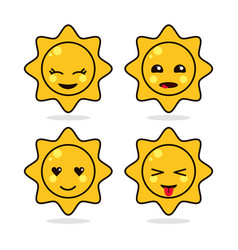 sun yellow kawaii cartoon happy cute icon vector image