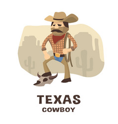 texas cowboy in a hand drawn style vector image