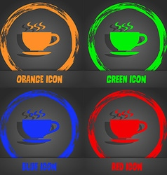 The tea and cup icon Fashionable modern style In vector image