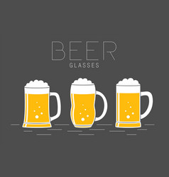 three glasses of beer vector image
