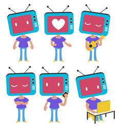 tv head girl set vector image