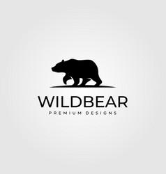 vintage bear walk logo symbol design vector image