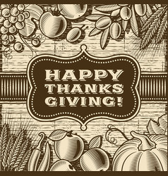 vintage happy thanksgiving card brown vector image