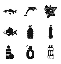 Watershed icons set simple style vector