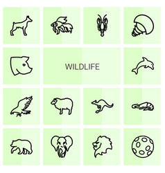 Wildlife icons vector