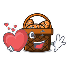 With heart bread basket mascot cartoon vector