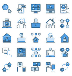 work at home blue creative icons working from vector image