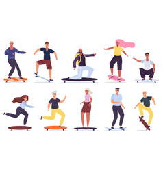 young skateboarders men and women riding vector image