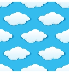 Blue sky with white clouds seamless pattern vector image vector image