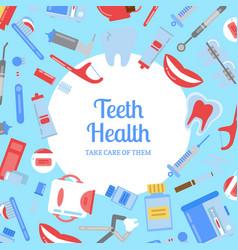 flat style teeth hygiene background vector image vector image