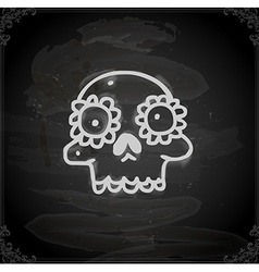 Hand Drawn Skull with Floral Element vector image vector image