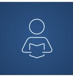 Man reading book line icon vector
