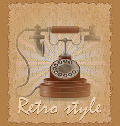 retro style poster old phone vector image
