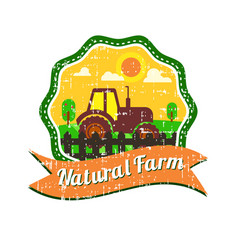 farm logos design with grunge texture vector image
