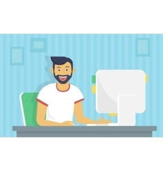 Man is working with computer vector image vector image