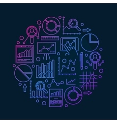 Round data analysis vector image vector image