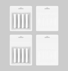 Set of four white batteries in blister packed vector