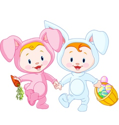 easter bunny babies vector image vector image