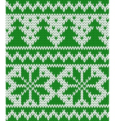 Knitted seamless pattern with fir-trees and stars vector