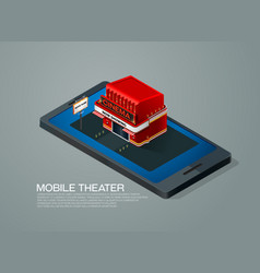 mobile phone ticket reservation cinema theater vector image vector image