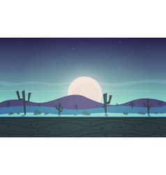 Night desert cartoon game background vector image