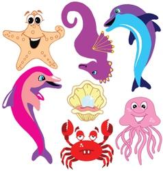 Sea animal set vector