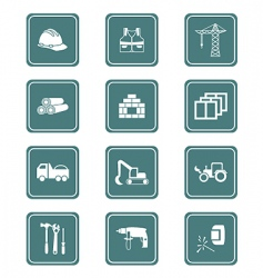 construction icons teal series vector image vector image