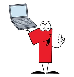 Number One Character Holding A Laptop vector image
