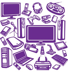 set of computer and electronics equipment vector image