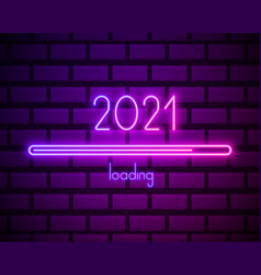 2021 neon text new year design template vector