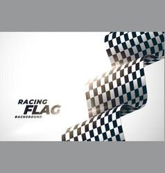 3d racing wavy flag background design vector
