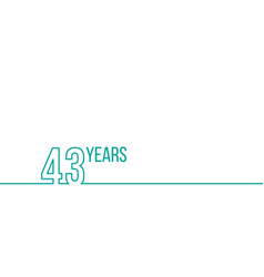 43 years anniversary or birthday linear outline vector