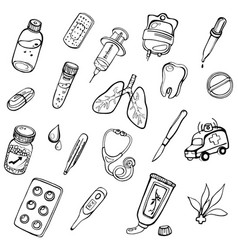 a set of hand-drawn icons on a theme medicine vector image