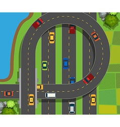 Aerial scene with cars on road vector
