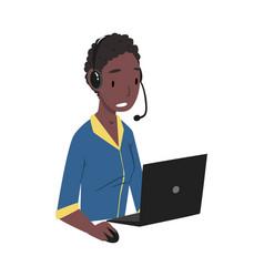 African american man call center operator online vector