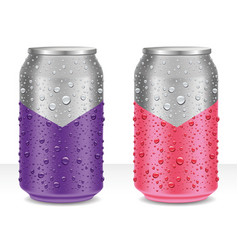aluminum cans in with fresh water drops vector image
