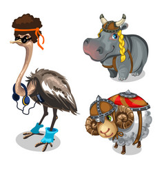 Animal in clothes ostrich hippopotamus and sheep vector