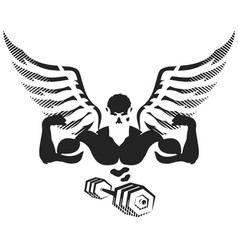 Athlete with wings for the gym vector