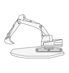 Backhoe heavy machinery construction icon image vector