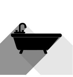 bathtub sign black icon with vector image