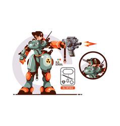 Battle robot transformer in science laboratory vector