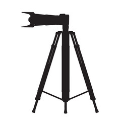 black camera on a tripod on a white vector image