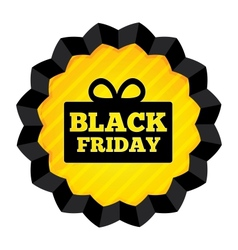 Black Friday Sale label with gift box on white vector