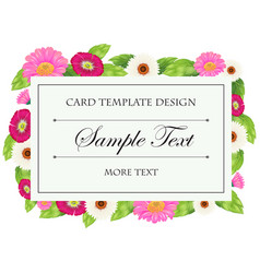 Card template with pink and white flowers vector