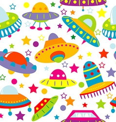 Cartoon space ship seamless vector image
