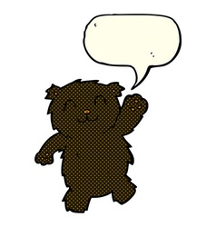 cartoon waving black bear with speech bubble vector image